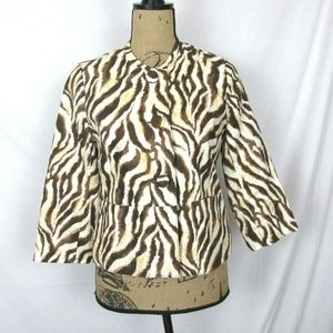 Rafaella Linen Jacket Brown/White Animal Print EUC